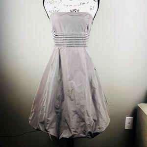 Zara | Taupe taffeta strapless bubble skirt dress